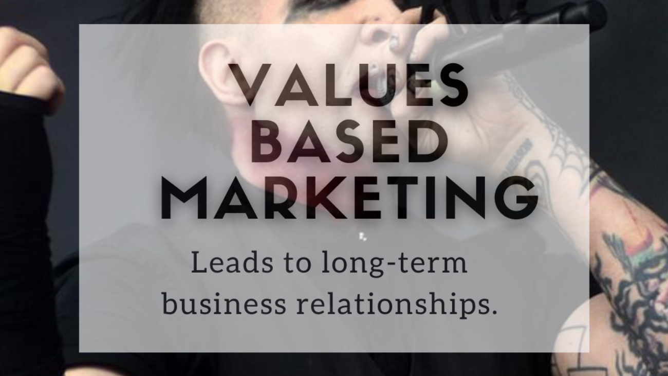"""Text overlaying an image. The text says """"values based marketing leads to long-term business relationships."""" The photo is of Marilyn Manson with a microphone, singing."""